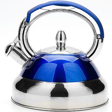 3286 Чайник мет/цв MB 3,2л пл/р со свистком (х12) зеленый3286Чайник металлический со свистком (3,2 л) Материал: нержавеющая сталь, индукционное дно, термостойкое покрытие Цвет: синий Размер коробки: 23х22х22 см Объем: 3,2 л Вес: 1,3 кг Корпус чайника выполнен из высококачественной нержавеющей стали, что обеспечивает долговечность использования. Корпус с зеркальной поверхностью синего цвета. Фиксированная ручка снабженная механизмом для открывания носика, что делает использование чайника очень удобным и безопасным. Носик снабжен свистком, что позволит вам контролировать процесс подогрева или кипячения воды. Капсулированное дно с прослойкой из алюминия обеспечивает наилучшее распределение тепла. Эстетичный и функциональный, с эксклюзивным дизайном, чайник будет оригинально смотреться в любом интерьере. Также изделие можно мыть в посудомоечной машине.