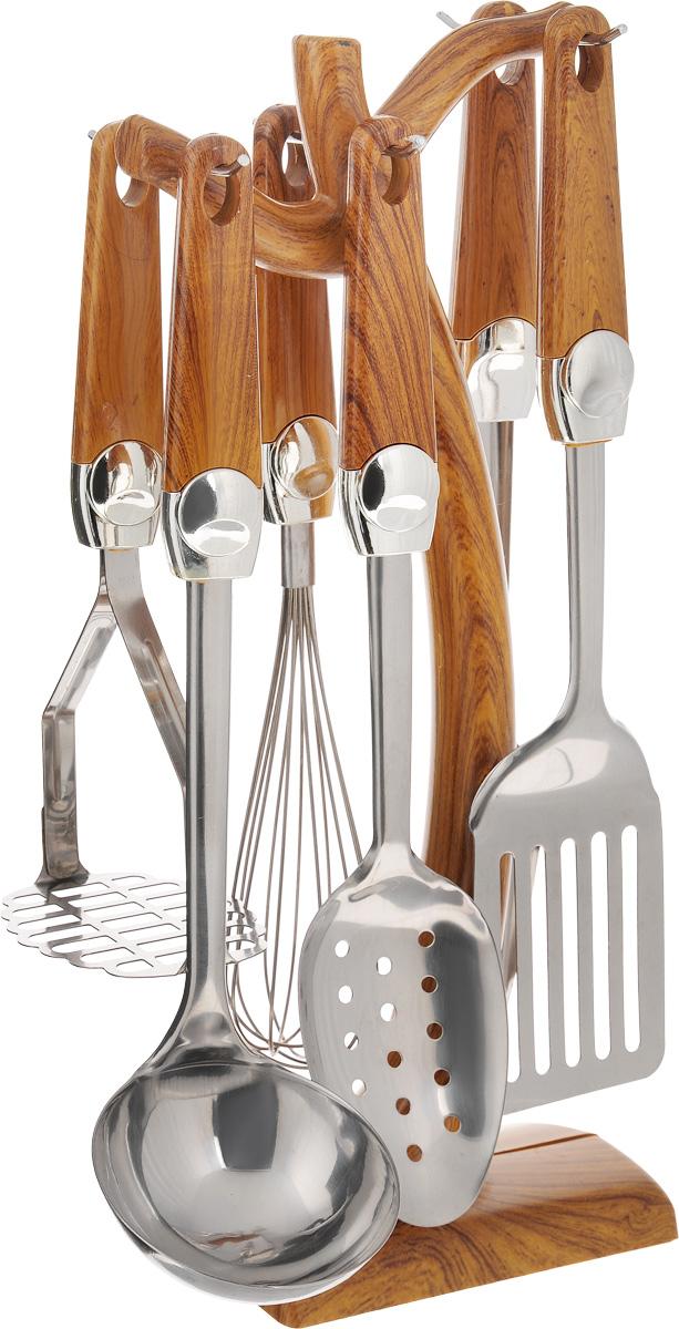 Набор кухонных принадлежностей Mayer & Boch, 7 предметов. 36733673Набор кухонных принадлежностей Mayer & Boch состоит из картофелемялки, венчика, шумовки, вилки для мяса, половника, лопатки и подставки. Предметы набора выполнены из высококачественной нержавеющей стали. Ручки, изготовленные из пластика и декорированные под дерево, обеспечивают удобный хват и защищают от перегрева. Набор Mayer & Boch придаст вашей кухне элегантность, подчеркнет индивидуальный дизайн и превратит приготовление еды в настоящее удовольствие. Этот профессиональный набор очень удобен в использовании и имеет стильную пластиковую подставку, которая позволяет хранить приборы в одном месте. Размер подставки: 16 х 10 х 38 см. Длина половника: 32 см. Размер рабочей части половника: 9 х 9 см. Длина картофелемялки: 24,5 см. Размер рабочей части картофелемялки: 9 х 8 см. Длина венчика: 31 см. Размер рабочей части венчика: 5,5 х 5,5 х 15 см. Длина шумовки: 32 см. Размер рабочей части шумовки: 10,5 х 7 см. ...