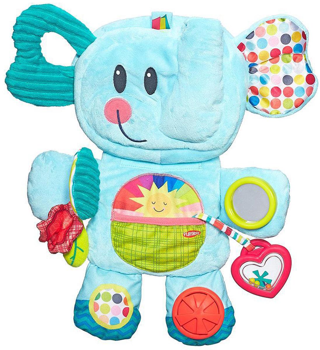 Playskool Мягкая развивающая игрушка Веселый слоникB2263EU4Мягкая развивающая игрушка Playskool Веселый слоник станет первым дружком вашего малыша. Яркий цвет игрушки, множество различных шуршащих и гремящих деталей, которые можно нажать, покрутить, потрогать, привлекут внимание ребенка. Зеркальце, прикрепленное на лапке слоника, даст возможность малышу увидеть свое отражение или поймать солнечного зайчика. А чтобы у крохи не болели десны, у слоника есть прорезыватель. Игрушка складывается в небольшую сумочку и ее можно брать с собой куда угодно! Ребенок в процессе игры может развивать мелкую моторику, тактильные ощущения. Порадуйте своего малыша такой милой игрушкой!