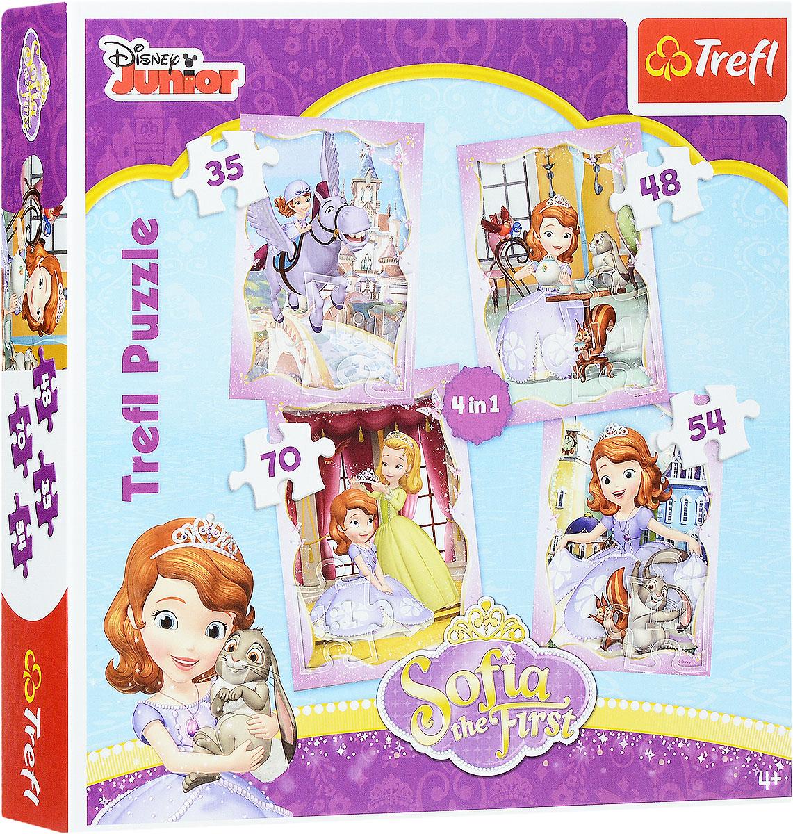 Trefl Пазл 4 в 1 Счастливый день Софии34247Набор Счастливый день Софии: 4 в 1 от бренда Trefl станет полезным и увлекательным подарком для маленьких любителей головоломок. В таком наборе вы найдете 4 пазла, на которых изображены сцены из жизни диснеевской принцессы Софии Прекрасной. С таким набором можно собрать не один, а целых четыре пазла, что позволит вашей малышке начать коллекцию тематических картинок, на которых нарисованы диснеевские герои. Пазлы имеют по 35, 48, 54 и 70 элементов. Игра выпущена польским брендом Trefl, известным своими пазлами во всем мире. Дело в том, что это пазлы высочайшего качества, изготавливающиеся из каландрированной бумаги, что позволяет приобрести им невероятную гладкость и яркие насыщенные цвета, которые не стираются со временем. Кроме того, это экологически чистая продукция, не способная нанести вреда ребенку и окружающей среде. Игра улучшает мелкую моторику, развивает логические навыки и воображение. Размер готовых изображений: 205 мм х 285 мм.