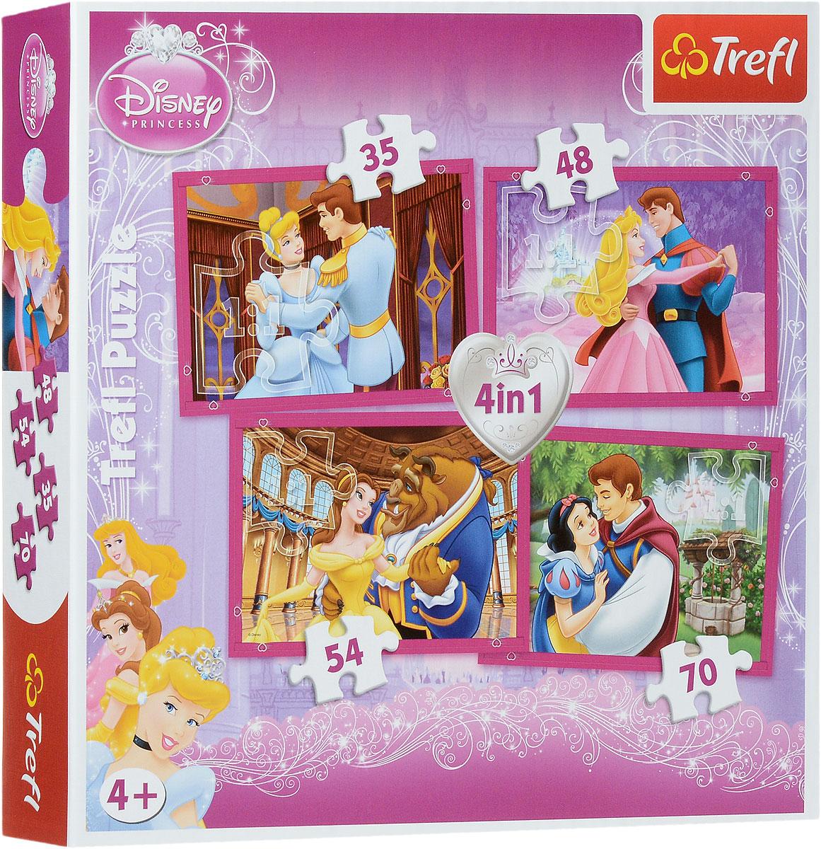 Trefl Пазл 4 в 1 Влюбленные пары34110Увлекательный детский набор пазлов Влюбленные пары: 4 в 1 идеально подойдет в качества подарка для маленьких принцесс. С таким набором можно собрать не один, а целых четыре пазла, что позволит вашей малышке начать коллекцию тематических картинок, на которых нарисованы диснеевские принцессы вместе со своими возлюбленными. Пазлы имеют по 35, 48, 54 и 70 элементов. Игра выпущена польским брендом Trefl, известным своими пазлами во всем мире. Дело в том, что это пазлы высочайшего качества, изготавливающиеся из каландрированной бумаги, что позволяет приобрести им невероятную гладкость и яркие насыщенные цвета, которые не стираются со временем. Кроме того, это экологически чистая продукция, не способная нанести вреда ребенку и окружающей среде. Игра улучшает мелкую моторику, развивает логические навыки и воображение. Размер готовых изображений: 205 мм х 285 мм.