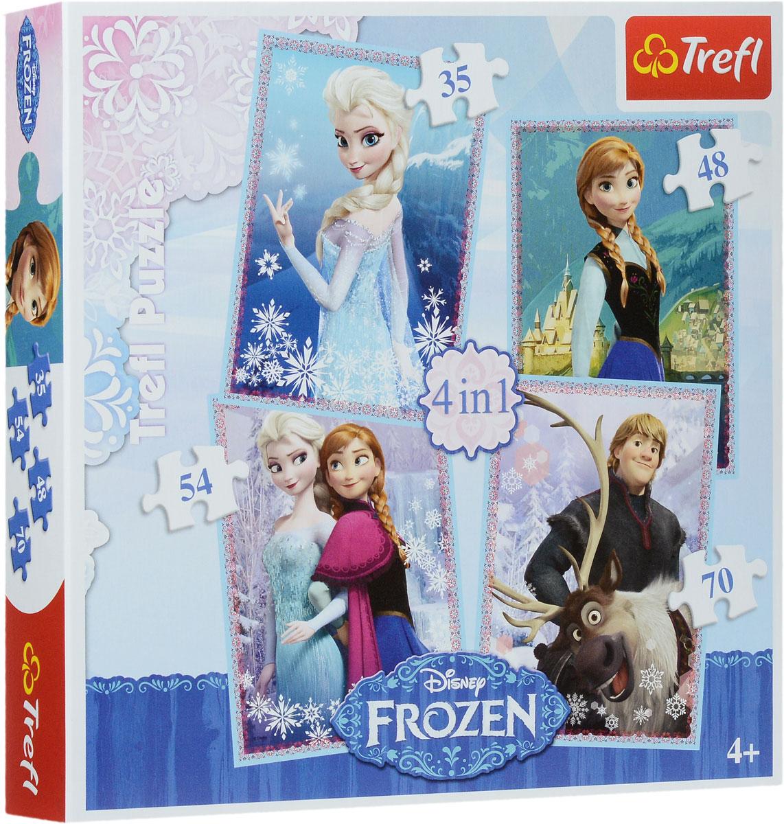 Trefl Пазл 4 в 1 Холодное Сердце34210Набор Холодное сердце: 4 в 1 от бренда Trefl станет полезным и увлекательным подарком для маленьких любителей головоломок. В таком наборе вы найдете 4 пазла, на которых изображены диснеевские мультипликационные принцессы. С таким набором можно собрать не один, а целых четыре пазла, что позволит вашему малышу начать коллекцию тематических картинок, на которых нарисованы диснеевские герои. Пазлы имеют по 35, 48, 54 и 70 элементов. Игра выпущена польским брендом Trefl, известным своими пазлами во всем мире. Дело в том, что это пазлы высочайшего качества, изготавливающиеся из каландрированной бумаги, что позволяет приобрести им невероятную гладкость и яркие насыщенные цвета, которые не стираются со временем. Кроме того, это экологически чистая продукция, не способная нанести вреда ребенку и окружающей среде. Игра улучшает мелкую моторику, развивает логические навыки и воображение. Размер готовых изображений: 205 мм х 285 мм.