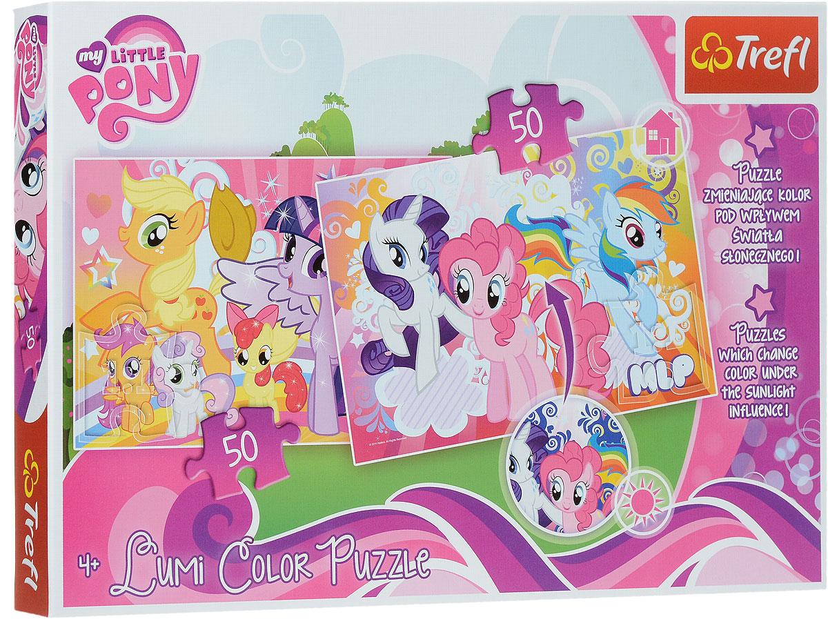 Trefl Пазл 2 в 1 Маленькие Пони16503Отличная новость для поклонников My Little Pony - новая серия пазлов от Trefl с любимыми героями! Пинки Пай, Рейнбоу Дэш, Рэрити, Флаттершай и другие сказочные пони ждут, когда маленькие ручки соберут яркую картинку с изображением мультперсонажей. В коробке вы найдете два пазла, состоящих из прочных и цепких деталей, приятных на ощупь. Они изготовлены из плотного картона: материал полностью безопасен для детей. А самое главное, это уникальная особенность нанесенного изображения менять цвета! Просто поднесите готовую картинку к яркому свету или солнечным лучам, и вашим глазам предстанет настоящее волшебство! Игра выпущена польским брендом Trefl, известным своими пазлами во всем мире. Дело в том, что это пазлы высочайшего качества, изготавливающиеся из каландрированной бумаги, что позволяет приобрести им невероятную гладкость и яркие насыщенные цвета, которые не стираются со временем. Кроме того, это экологически чистая продукция, не способная нанести вреда ребенку и окружающей...