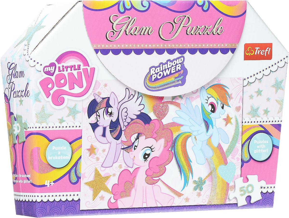Trefl Пазл My Little Pony14804My Little Pony завоевали сердца всех детишек, ведь невозможно не влюбиться в этих очаровательных пони со сверкающими глазками, разноцветными гривами и удивительными способностями! Дружба этих славных лошадок подает пример и малышам, ведь иметь верное плечо поблизости - так важно! В удивительно симпатичной картонной сумочке на липучках сложены 50 аккуратных деталей пазла, из которого вы можете составить изумительную картинку! Отдельные элементы покрыты блестками, поэтому если повесить изображение на стену в комнате, то оно станет прекрасным украшением интерьера. Сумочку можно использовать для хранения всевозможных мелочей или пройтись с ней по улице, соседские девочки упадут от зависти! Сборка пазла поможет малышке развить мышление, внимание и моторику рук. Размер готового изображения: 410 мм х 278 мм.