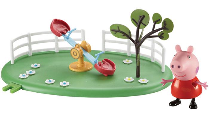 Peppa Pig Набор Игровая площадка Качели-качалка Пеппы28775Свинка Пеппа отправляется гулять на зеленую цветочную лужайку. На ней находятся качели-качалка для двух друзей. На сидениях, по размеру идеально подходящих для фигурки Пеппы, есть выемки для ножек, чтобы ей и ее друзьям было удобно сидеть. Около сидений находятся ручки, на которые герои могут облокачиваться, чтобы не упасть. Качать свинок можно с помощью специальных колесиков в центре качалки. Рядом с качелями «растет» дерево. Снизу у игрушки имеются специальные приспособления, которые по типу пазлов позволяют скрепить все площадки из ассортимента. Из данной серии вы также можете выбрать следующие наборы: «Качели», «Горка». В наборе «Качели-качалка Пеппы» из серии «Игровая площадка Пеппы» 2 предмета: площадка с качелями, фигурка свинки Пеппы в шапочке (5 см), которая может стоять, сидеть, двигать ручками и ножками. Игрушки изготовлены из безопасного пластика. Товар сертифицирован. Упаковка: подарочная открытая коробка.