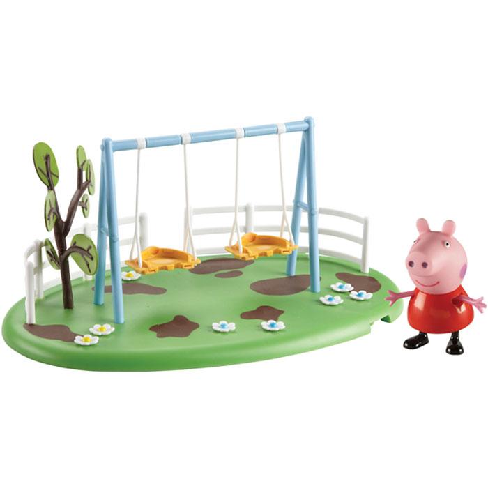 Peppa Pig Набор Игровая площадка Качели Пеппы28776Свинка Пеппа отправляется гулять на зеленую цветочную лужайку. На ней расположены две съемные качели со специальными дырочками на сидениях, в которых можно прочно зафиксировать ножки фигурок. Пеппа и ее друзья будут весело качаться, не боясь упасть. От одного несильного толчка качели могут сами раскачиваться в течение 10-15 секунд. Рядом с ними растет дерево, а вокруг видны небольшие «лужи» – Пеппа и ее друзья обожают прыгать по ним! Снизу у игрушки имеются специальные приспособления, которые по типу пазлов позволяют скрепить все площадки из ассортимента. Из данной серии вы также можете выбрать следующие наборы: «Качели-качалка», «Горка». В наборе «Качели Пеппы» из серии «Игровая площадка Пеппы» 2 предмета: площадка с качелями и фигурка Свинки Пеппы (5 см), которая может стоять, сидеть, двигать ручками и ножками. Игрушки изготовлены из безопасного пластика. Товар сертифицирован. Упаковка: открытая подарочная коробка.