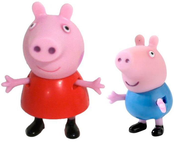 Peppa Pig Игровой набор Пеппа и Джордж28813Добро пожаловать в мир Свинки Пеппы! С забавными игрушками из серии «Peppa Pig» веселые мультфильмы оживут прямо у вас дома, а малыши станут участниками увлекательных приключений Пеппы и ее друзей. В наборе «Пеппа и Джордж» 2 фигурки, которые могут сидеть, стоять, двигать ручками и ножками: Пеппа – 5,5 см, Джордж – 4 см. Игрушки изготовлены из безопасного пластика. Товар сертифицирован.