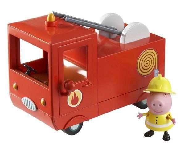 Peppa Pig Набор фигурок Пожарная машина Пеппы29371Свинка Пеппа спешит на помощь! В защитной форме и шлеме пожарника она отважно тушит огонь и спасает своих друзей. И все это благодаря ее пожарной машине - точно такой же, как и в мультфильме! Ваш малыш хочет присоединиться к ее увлекательному занятию? Тогда игровой набор Пожарная машина Пеппы ТМ Свинка Пеппа ему поможет в этом. В комплекте 2 предмета: красная пожарная машина и фигурка Свинки Пеппы, с двигающимися ручками и ножками, которая может стоять и сидеть. В машине есть кабина с открывающимися дверками и углублениями на сидении для двух фигурок, подвижная пожарная лестница, декоративные зеркала и мигалка. С ней не страшен никакой пожар! Сюжетно- ролевая игра с этим набором активно развивает у детей воображение, координацию движений, творческое мышление и навыки общения. Игрушки выполнены из высококачественного пластика и безопасны для детского использования.