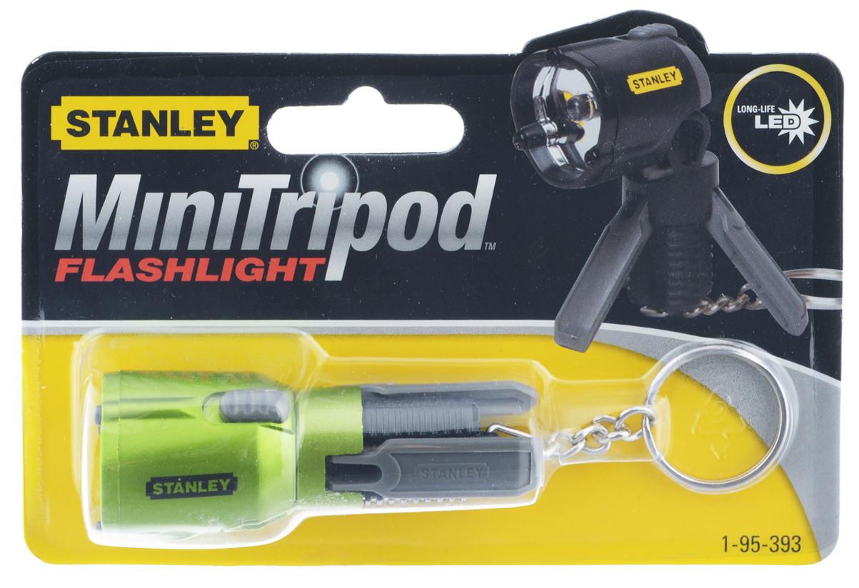 Фонарик-брелок светодиодный Stanley Mini Tripod, цвет: зеленый1-95-393_зеленыйФонарик-брелок светодиодный Stanley Mini Tripod имеет треногу, благодаря чему его можно использовать без рук. Один светодиод размером 5 мм формирует луч белого света. В комплекте 3 батарейки типа LR41.