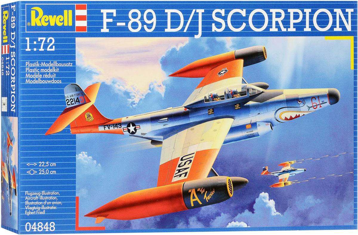 Revell Сборная модель Самолет-перехватчик F-89 D/J Scorpion04848RСборная модель Revell Самолет-перехватчик F-89 D/J Scorpion поможет вам и вашему ребенку придумать увлекательное занятие на долгое время. Набор включает в себя 101 пластиковый элемент, из которых можно собрать достоверную уменьшенную копию одноименного самолета. Самолет был разработан в конце 1940-х годов. Является первым самолетом, несшим ядерное вооружение (ракеты класса воздух-воздух). Состоял на вооружении ВВС США до конца 1950-х. Уровень сложности: 3. В комплект также входит лист с наклейками и схематичная инструкция. Длина собранной модели - 22,5 см, размах крыла - 25 см. Модель не раскрашена, для сборки модели необходим клей (краски и клей продаются отдельно).