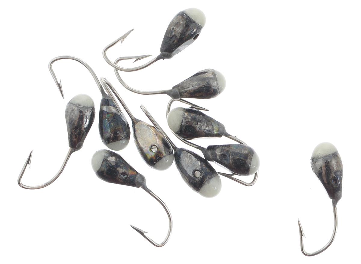 Мормышка вольфрамовая Dixxon-Russia, капля с отверстием и фосфором, цвет: черный никель, диаметр 3 мм, 10 шт46086Мормышка Dixxon-Russia изготовлена из вольфрама и оснащена крючком. Главное достоинство вольфрамовой мормышки - большой вес при малом объеме. Эта особенность дает большие преимущества при ловле, так как позволяет быстро погрузить приманку на требуемую глубину и лучше чувствовать игру мормышки. Диаметр мормышки: 3 мм.
