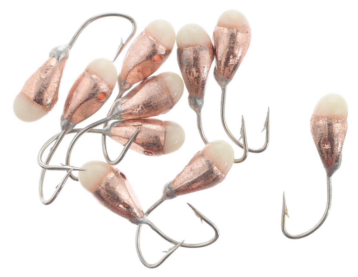 Мормышка вольфрамовая Dixxon-Russia, капля с отверстием и фосфором, цвет: медный, диаметр 3 мм, 10 шт46081Мормышка Dixxon-Russia изготовлена из вольфрама и оснащена крючком. Главное достоинство вольфрамовой мормышки - большой вес при малом объеме. Эта особенность дает большие преимущества при ловле, так как позволяет быстро погрузить приманку на требуемую глубину и лучше чувствовать игру мормышки. Диаметр мормышки: 3 мм.