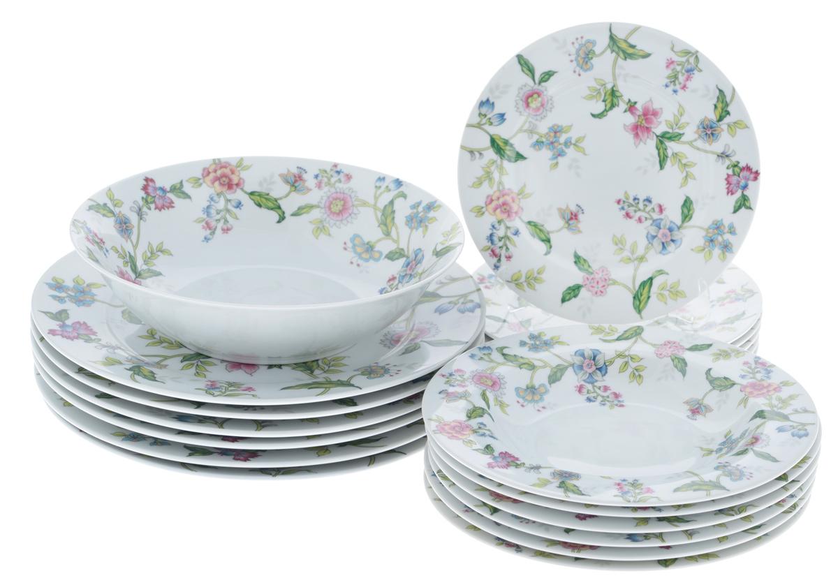 Набор столовой посуды Bekker Koch, 19 предметовBK-7288Набор Bekker Koch состоит из 6 суповых тарелок, 6 обеденных тарелок, 6 десертных тарелок и салатника. Изделия выполнены из высококачественного фарфора, имеют яркий дизайн и изящный цветочный рисунок. Посуда отличается прочностью, гигиеничностью и долгим сроком службы, она устойчива к появлению царапин и резким перепадам температур. Такой набор прекрасно подойдет как для повседневного использования, так и для праздников. Набор столовой посуды Bekker Koch - это не только яркий и полезный подарок для родных и близких, а также великолепное дизайнерское решение для вашей кухни или столовой. Можно мыть в посудомоечной машине. Диаметр суповой тарелки (по верхнему краю): 21,7 см. Высота суповой тарелки: 3,3 см. Диаметр обеденной тарелки (по верхнему краю): 27,1 см. Высота обеденной тарелки: 2,5 см. Диаметр десертной тарелки (по верхнему краю): 19,2 см. Высота десертной тарелки: 2 см. Диаметр салатника...