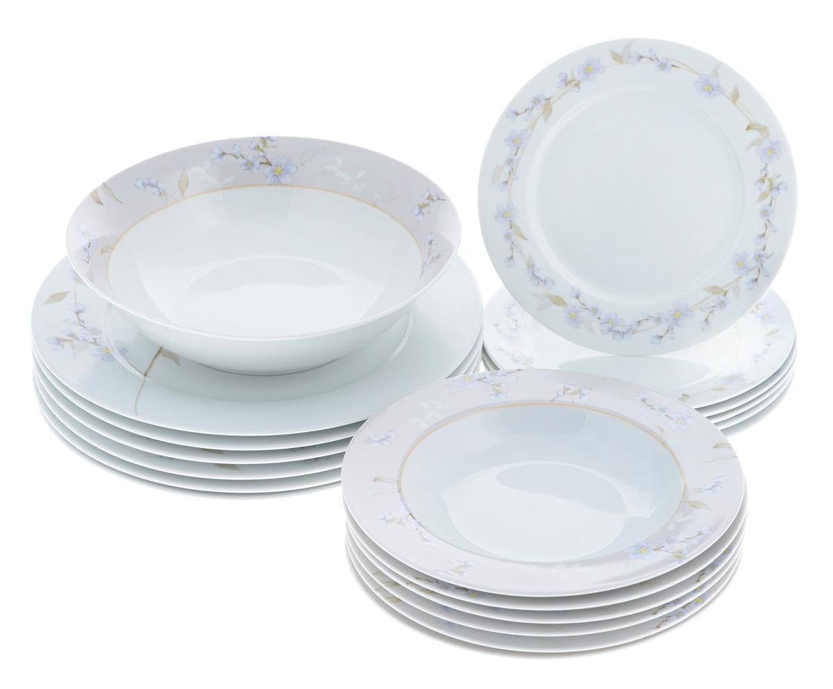 Набор столовой посуды Bekker Koch, 19 предметов. BK-7290BK-7290Набор Bekker Koch, изготовленный из высококачественного фарфора, состоит из 6 суповых тарелок, 6 обеденных тарелок, 6 десертных тарелок и салатника. Изделия декорированы изображением цветов. Такой сервиз придется по вкусу любителям классики, и тем, кто предпочитает утонченность и изысканность. Набор эффектно украсит стол к обеду, а также прекрасно подойдет для торжественных случаев. Можно мыть в посудомоечной машине. Диаметр обеденной тарелки (по верхнему краю): 27,1 см. Высота обеденной тарелки: 2 см. Диаметр суповой тарелки (по верхнему краю): 21,7 см. Высота суповой тарелки: 3 см. Диаметр десертной тарелки (по верхнему краю): 19,2 см. Высота десертной тарелки: 1,5 см. Диаметр салатника (по верхнему краю): 22,9 см. Высота салатника: 6 см.