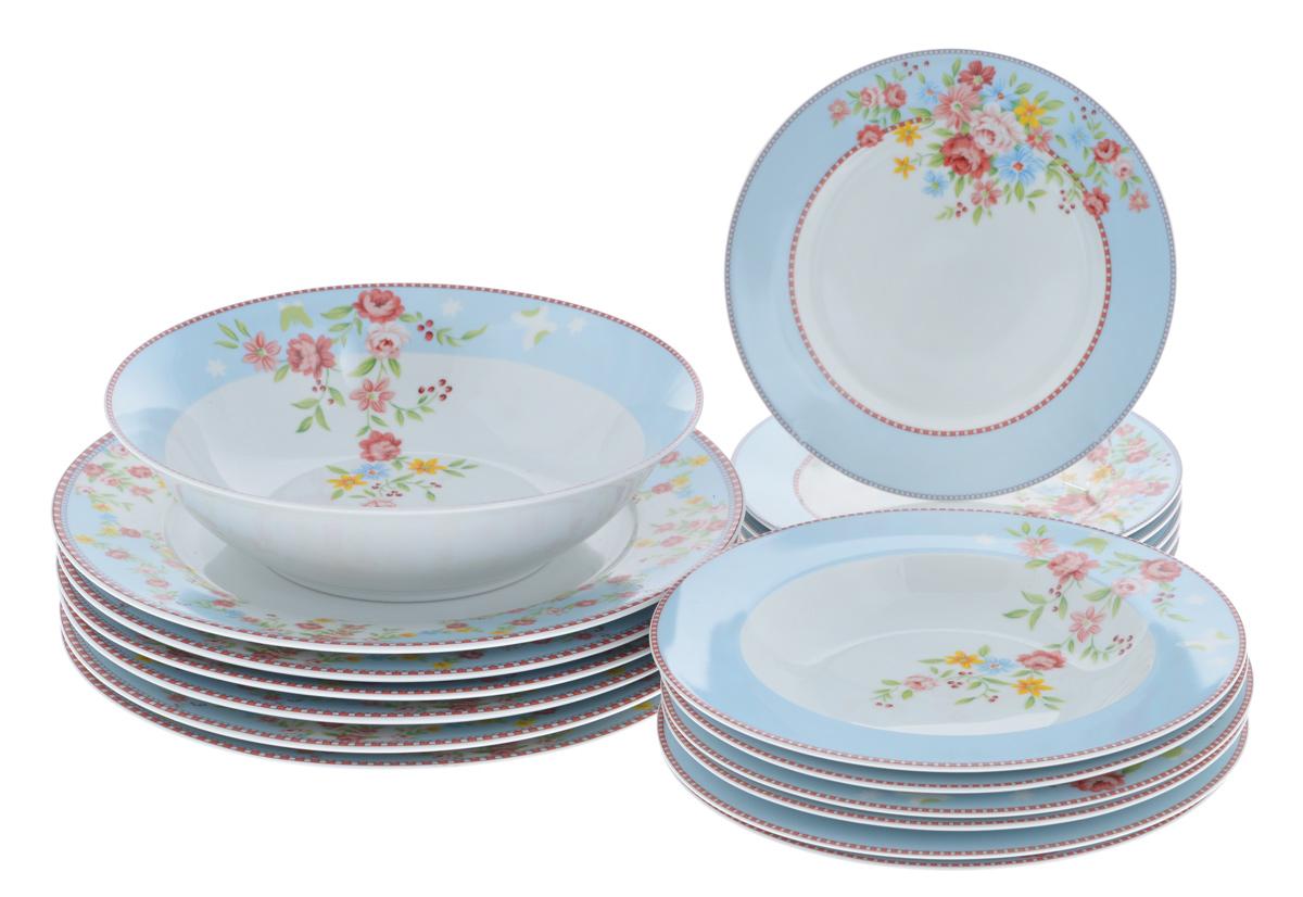 Набор столовой посуды Bekker Koch, 19 предметов. BK-7287BK-7287Набор Bekker Koch состоит из 6 суповых тарелок, 6 обеденных тарелок, 6 десертных тарелок и салатника. Изделия выполнены из высококачественного фарфора и имеют классическую круглую форму. Посуда отличается прочностью, гигиеничностью и долгим сроком службы, она устойчива к появлению царапин и резким перепадам температур. Такой набор прекрасно подойдет как для повседневного использования, так и для праздников. Набор столовой посуды Bekker Koch - это не только яркий и полезный подарок для родных и близких, а также великолепное дизайнерское решение для вашей кухни или столовой. Можно мыть в посудомоечной машине. Диаметр обеденной тарелки (по верхнему краю): 27,1 см. Высота обеденной тарелки: 2 см. Диаметр суповой тарелки (по верхнему краю): 21,7 см. Высота суповой тарелки: 3 см. Диаметр десертной тарелки (по верхнему краю): 19,2 см. Высота десертной тарелки: 1,5 см. Диаметр салатника (по верхнему...