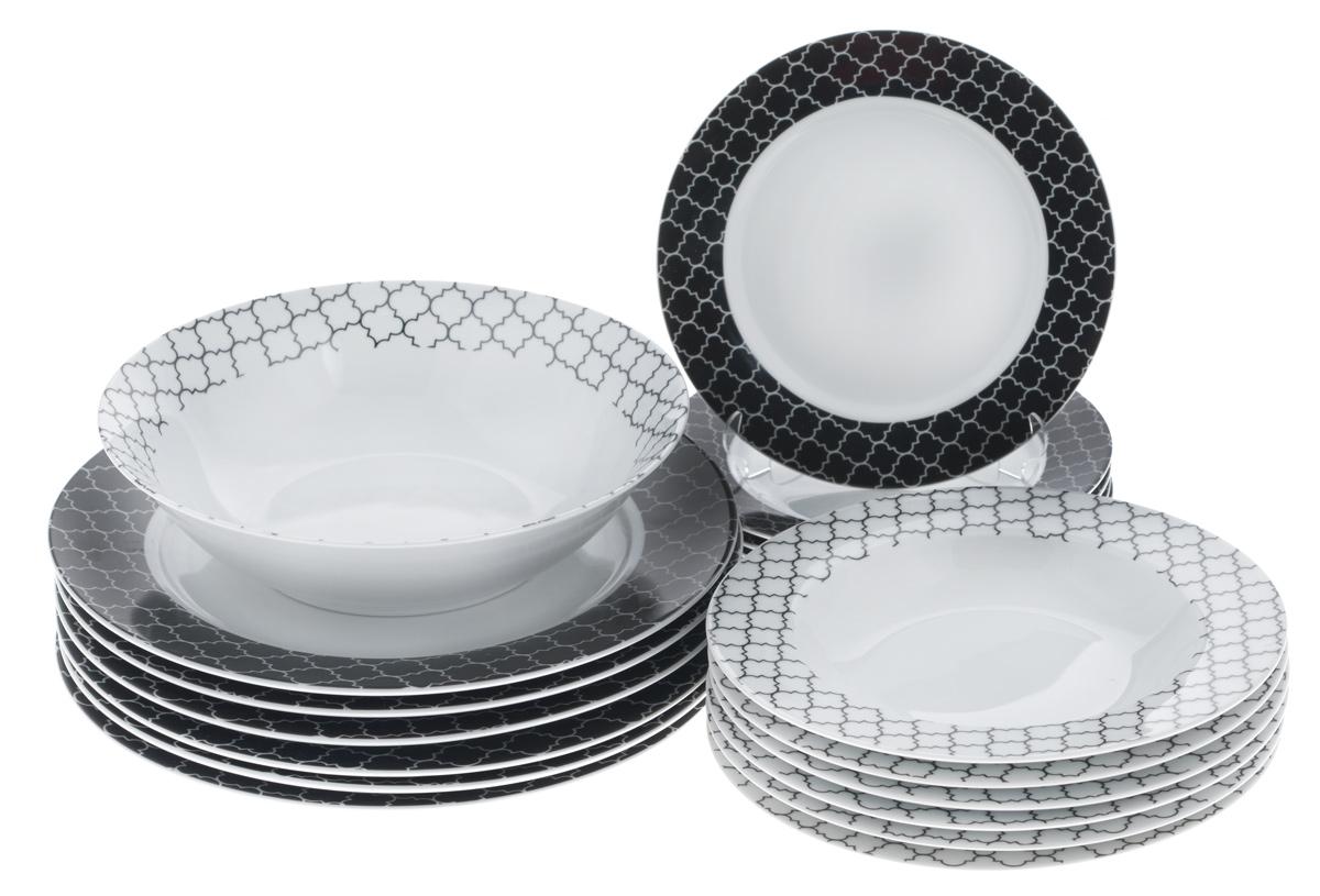 Набор столовой посуды Bekker Koch, 19 предметов. BK-7289BK-7289Набор Bekker Koch состоит из 6 суповых тарелок, 6 обеденных тарелок, 6 десертных тарелок и салатника. Изделия выполнены из высококачественного фарфора, имеют яркий дизайн и изящный рисунок. Посуда отличается прочностью, гигиеничностью и долгим сроком службы, она устойчива к появлению царапин и резким перепадам температур. Такой набор прекрасно подойдет как для повседневного использования, так и для праздников. Набор столовой посуды Bekker Koch - это не только яркий и полезный подарок для родных и близких, а также великолепное дизайнерское решение для вашей кухни или столовой. Можно мыть в посудомоечной машине. Диаметр суповой тарелки (по верхнему краю): 21,7 см. Высота суповой тарелки: 3,3 см. Диаметр обеденной тарелки (по верхнему краю): 27,1 см. Высота обеденной тарелки: 2,5 см. Диаметр десертной тарелки (по верхнему краю): 19,2 см. Высота десертной тарелки: 2 см. Диаметр салатника (по верхнему...