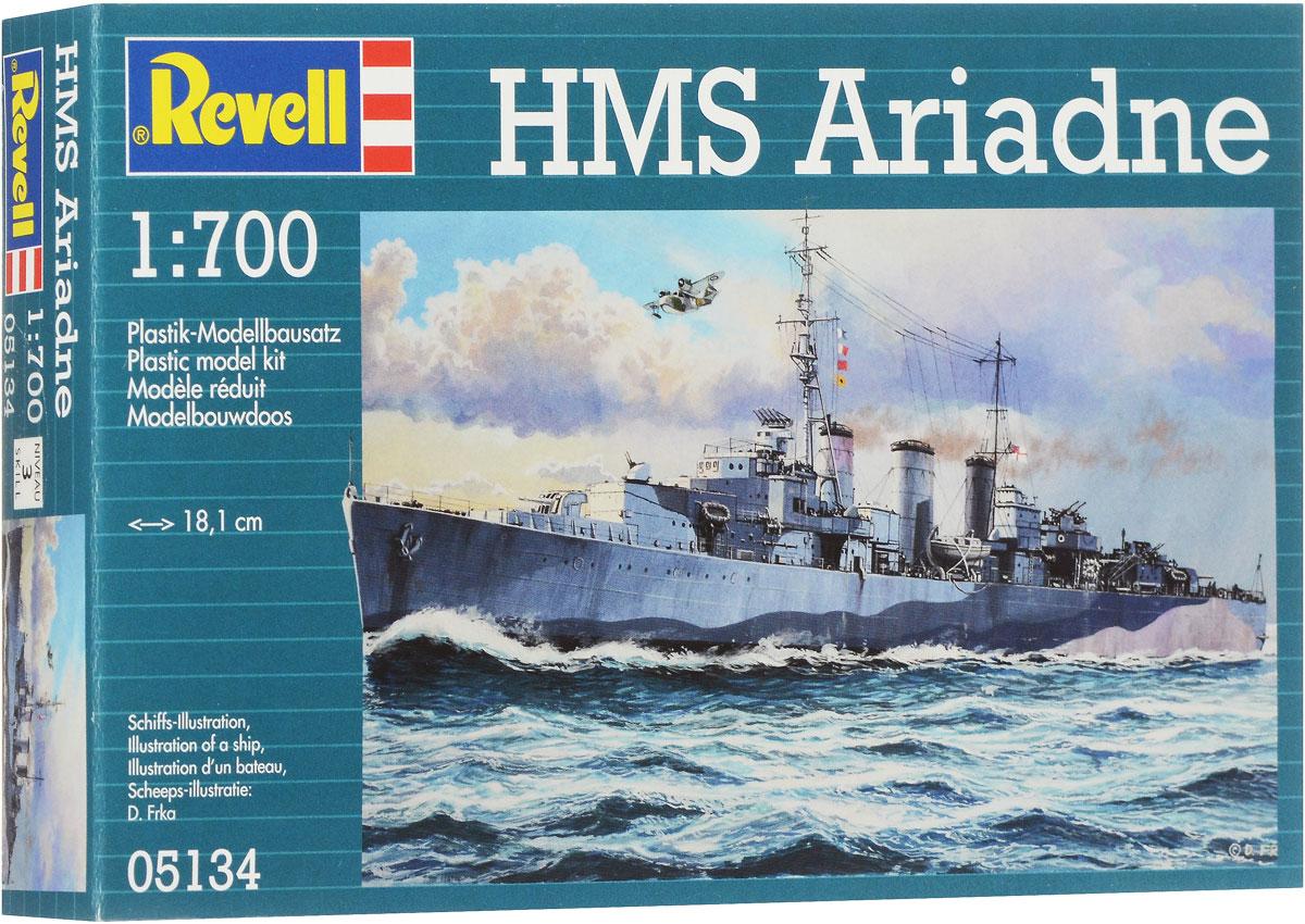 Revell Сборная модель Крейсер HMS Ariadne05134RСборная модель Revell Крейсер HMS Ariadne поможет вам и вашему ребенку придумать увлекательное занятие на долгое время. Набор включает в себя 76 пластиковых элементов, из которых можно собрать достоверную уменьшенную копию крейсера HMS Ariadne. Крейсер H.M.S Ariadne - это корабль класса Abdiel. Во время Второй мировой войны его широко использовали для закладки минных полей в глубинах Тихого океана. Модель от компании Revell - это уменьшенная копия оригинального крейсера. Причем совершенно полная! Мимо такой игрушки не пройдет ни ребенок, ни взрослый. Корпус корабля выполнен в совершенстве, включая самые маленькие детали. Крейсер оборудован спасательными шлюпками, орудийными башнями и комплексной палубой. В комплект также входит лист с наклейками и схематичная инструкция. Уровень сложности: 3. Длина собранной модели - 18,1 см. Модель не раскрашена, для сборки модели необходим клей (краски и клей продаются отдельно).