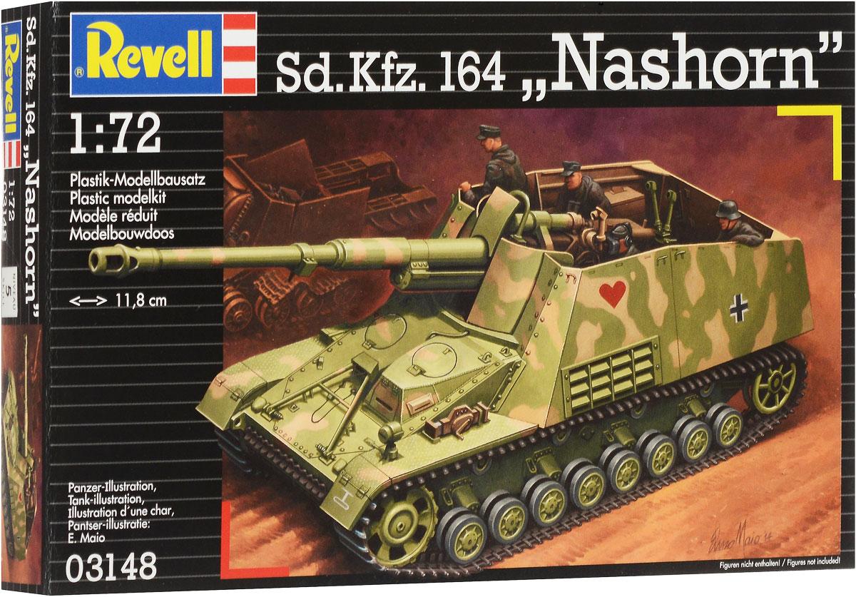 Revell Сборная модель Самоходная артиллерийская установка Sd Kfz 164 Nashorn03148RСборная модель Revell Самоходная артиллерийская установка Sd.Kfz. 164 Nashorn поможет вам и вашему ребенку придумать увлекательное занятие на долгое время. Набор включает в себя 184 пластиковых элемента, из которых можно собрать достоверную уменьшенную копию немецкой САУ времен Второй мировой войны. Данная самоходная артиллерийская установка создавалась для борьбы с тяжелыми советскими танками. Всего с весны 1943 года было выпущено чуть менее 500 экземпляров. К существенным недостаткам машины относили ее бронирование, которое защищало экипаж только от стрелкового оружия. Сильной же стороной являлось орудие - 88-мм пушка, которая могла успешно поражать любой из танков, состоявших на вооружении союзников. Уровень сложности: 5. В комплект также входит лист с наклейками и схематичная инструкция. Длина собранной модели - 11,8 см. Модель не раскрашена, для сборки модели необходим клей (краски и клей продаются отдельно).