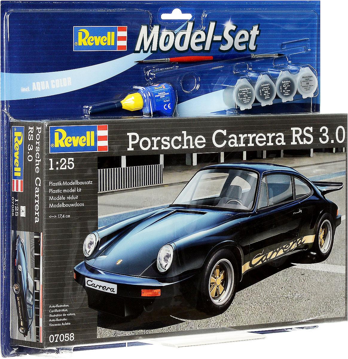 Revell Набор для сборки и раскрашивания Автомобиль Porsche Carrera RS 3.067058С помощью набора Revell Porsche Carrera RS 3.0 вы и ваш ребенок сможете собрать уменьшенную копию одноименного английского автомобиля и раскрасить ее. Набор включает в себя 84 пластиковых элемента для сборки модели, краски четырех цветов, клей, двустороннюю кисточку и схематичную инструкцию по сборке. Благодаря набору ваш ребенок научится пространственно мыслить, различать цвета, творчески решать поставленные задачи, разовьет мелкую моторику рук, внимание, терпение, кругозор и мышление. Это идеальный вариант для начинающего моделиста. Несравненный Porsche Carrera был выпущен в 1972 году как специальная спортивная версия Porsche 911. Большой трехлитровый двигатель в 200 лошадиных сил позволял машине разгоняться от 0 до 100 км/час всего за 6,3 секунды. Максимальная скорость достигала 240 км/ч. Спортивный характер автомобиля подчеркивают изысканный передний бампер, широкие арки задних колес и объемный спойлер, знаменитый под таким названием как хвост кита.