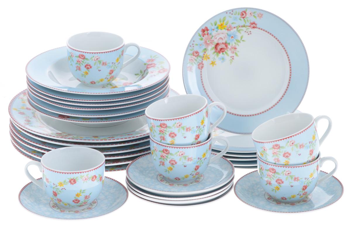 Набор столовой посуды Bekker Koch, 30 предметовBK-7281Набор Bekker Koch состоит из 6 суповых тарелок, 6 обеденных тарелок, 6 десертных тарелок, 6 чашек и 6 блюдец. Изделия выполнены из высококачественного фарфора и имеют классическую круглую форму. Посуда отличается прочностью, гигиеничностью и долгим сроком службы, она устойчива к появлению царапин и резким перепадам температур. Такой набор прекрасно подойдет как для повседневного использования, так и для праздников. Набор столовой посуды Bekker Koch - это не только яркий и полезный подарок для родных и близких, а также великолепное дизайнерское решение для вашей кухни или столовой. Можно мыть в посудомоечной машине. Диаметр суповой тарелки (по верхнему краю): 21,7 см. Высота суповой тарелки: 3,5 см. Диаметр обеденной тарелки (по верхнему краю): 27,1 см. Высота обеденной тарелки: 2,3 см. Диаметр десертной тарелки (по верхнему краю): 19,2 см. Высота десертной тарелки: 1,7 см. Диаметр блюдца (по...