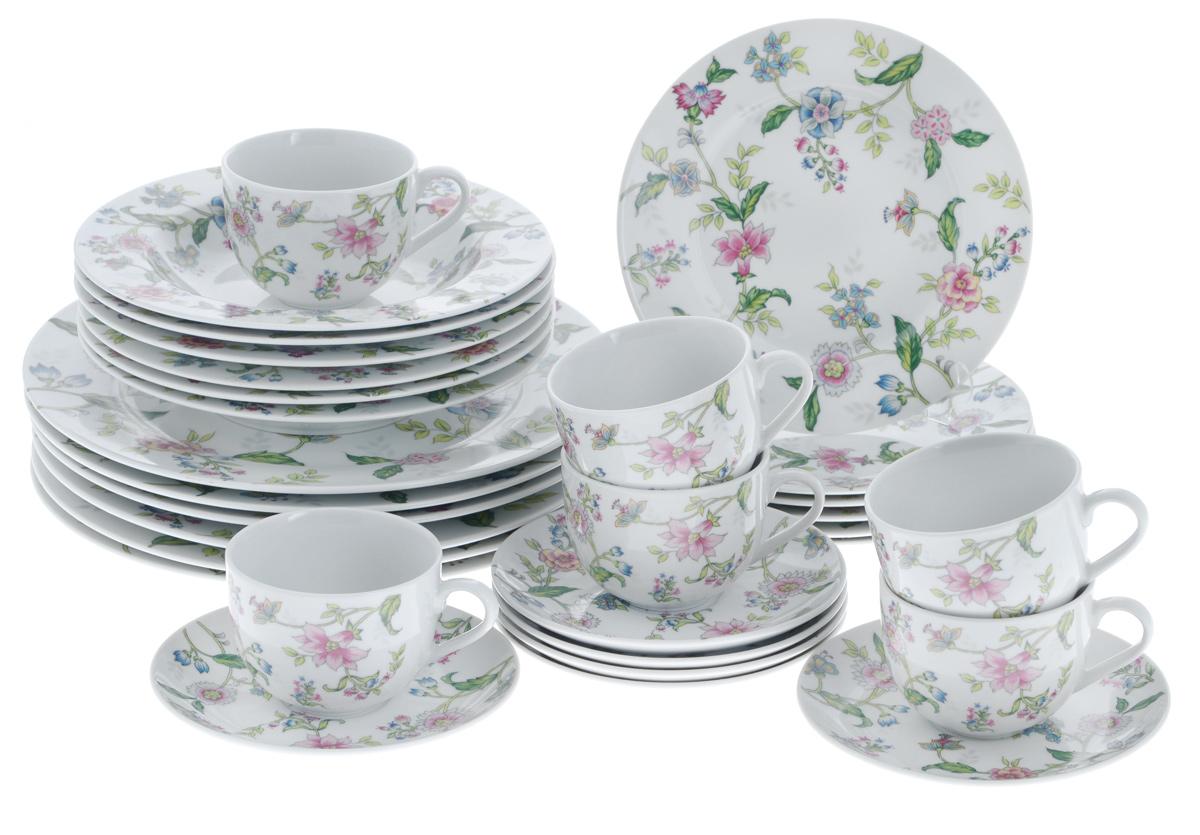 Набор столовой посуды Bekker Koch, 30 предметов. BK-7282BK-7282Набор Bekker Koch состоит из 6 обеденных тарелок, 6 суповых тарелок, 6 десертных тарелок, 6 блюдец и 6 чашек. Изделия выполнены из высококачественного фарфора и имеют круглую форму. Посуда отличается прочностью, гигиеничностью и долгим сроком службы, она устойчива к появлению царапин и резким перепадам температур. Такой набор прекрасно подойдет как для повседневного использования, так и для праздников. Набор столовой посуды Bekker Koch - это не только яркий и полезный подарок для родных и близких, а также великолепное дизайнерское решение для вашей кухни или столовой. Можно мыть в посудомоечной машине. Диаметр суповой тарелки (по верхнему краю): 21,7 см. Высота суповой тарелки: 3,5 см. Диаметр обеденной тарелки (по верхнему краю): 27,1 см. Высота обеденной тарелки: 2,3 см. Диаметр десертной тарелки (по верхнему краю): 19,2 см. Высота десертной тарелки: 1,7 см. Диаметр блюдца (по верхнему краю):...