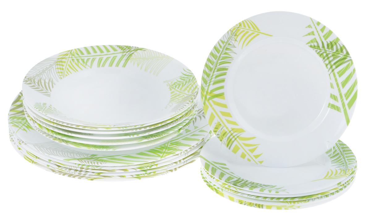 Набор тарелок Luminarc Green Forest, 18 штH8453Набор Luminarc Green Forest состоит из 6 суповых тарелок, 6 обеденных тарелок и 6 десертных тарелок. Изделия выполнены из ударопрочного стекла, имеют яркий дизайн и классическую круглую форму. Посуда отличается прочностью, гигиеничностью и долгим сроком службы, она устойчива к появлению царапин и резким перепадам температур. Такой набор прекрасно подойдет как для повседневного использования, так и для праздников. Набор тарелок Luminarc Green Forest - это не только яркий и полезный подарок для родных и близких, а также великолепное дизайнерское решение для вашей кухни или столовой. Можно мыть в посудомоечной машине и использовать в микроволновой печи. Диаметр суповой тарелки (по верхнему краю): 22 см. Высота суповой тарелки: 3,2 см. Диаметр обеденной тарелки (по верхнему краю): 26,5 см. Высота обеденной тарелки: 2,3 см. Диаметр десертной тарелки (по верхнему краю): 19 см. Высота десертной тарелки: 1,5...