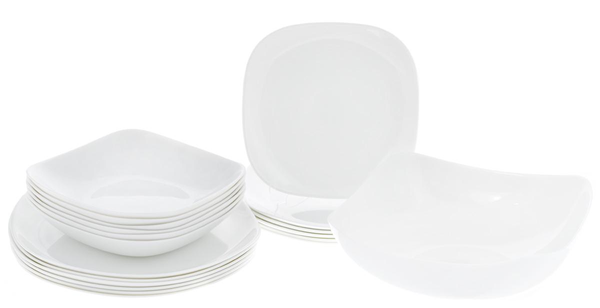 Набор столовой посуды Luminarc Yalta, цвет: белый, 19 предметовH3998Набор Luminarc Yalta состоит из 6 суповых тарелок, 6 обеденных тарелок, 6 десертных тарелок и салатника. Изделия выполнены из ударопрочного стекла, имеют яркий дизайн и изящную форму. Посуда отличается прочностью, гигиеничностью и долгим сроком службы, она устойчива к появлению царапин и резким перепадам температур. Такой набор прекрасно подойдет как для повседневного использования, так и для праздников. Набор столовой посуды Luminarc Yalta - это не только яркий и полезный подарок для родных и близких, а также великолепное дизайнерское решение для вашей кухни или столовой. Можно мыть в посудомоечной машине и использовать в микроволновой печи. Размер суповой тарелки (по верхнему краю): 19,5 см х 19,5 см. Высота суповой тарелки: 3,7 см. Размер обеденной тарелки (по верхнему краю): 26 см х 26 см. Высота обеденной тарелки: 2 см. Размер десертной тарелки (по верхнему краю): 20,5 см х 20,5 см. Высота десертной тарелки:...