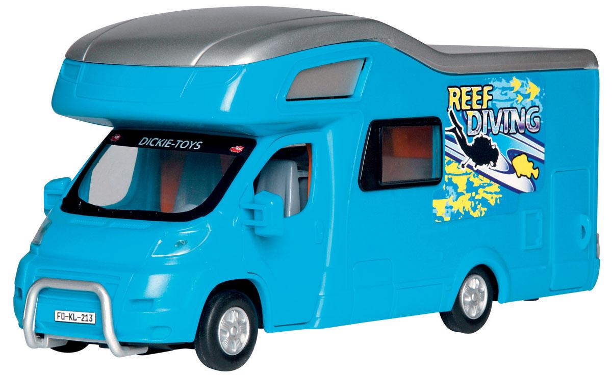 Dickie Toys Трейлер для отдыха цвет синий3314320_синийМашина Dickie Toys Трейлер для отдыха непременно понравится вашему ребенку. Игрушка выполнена из прочного пластика в виде трейлера для отдыха и путешествий. Передние и боковая двери открываются, крыша снимается. Интерьер салона включает все необходимое для отдыха. Колеса машинки свободно вращаются. С такой машинкой ваш малыш будет часами занят игрой. Порадуйте его таким замечательным подарком!
