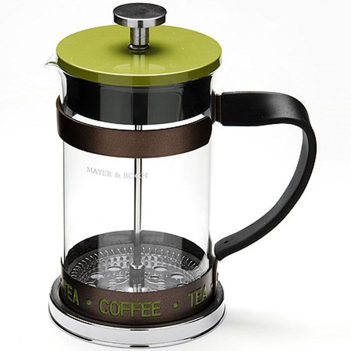 Френч-пресс Mayer & Boch, цвет: прозрачный, салатовый, 800 мл. 2491424914Френч-пресс Mayer & Boch изготовлен из высококачественной нержавеющей стали и жаропрочного стекла. Фильтр-поршень выполнен по технологии Press-Up и оснащен ситечком для обеспечения равномерной циркуляции воды. Засыпая чайную заварку или кофе под фильтр, заливая горячей водой, вы получаете ароматный напиток с оптимальной крепостью и насыщенностью. Остановить процесс заваривания легко, для этого нужно просто опустить поршень, и все уйдет вниз, оставляя вверху напиток, готовый к употреблению. Френч-пресс оснащен эргономичной прорезиненной ручкой, она обеспечит безопасный и удобный хват. Такой френч-пресс Mayer & Boch позволит быстро и просто приготовить свежий и ароматный кофе или чай. Можно мыть в посудомоечной машине. Не использовать в микроволновой печи. Диаметр колбы (по верхнему краю): 9,5 см. Высота френч-пресса (без учета крышки): 16,5 см. Высота френч-пресса (с учетом крышки): 19,5 см.