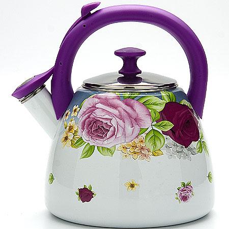 Чайник эмалированный Mayer & Boch Розы, со свистком, 2,8 л. 23088