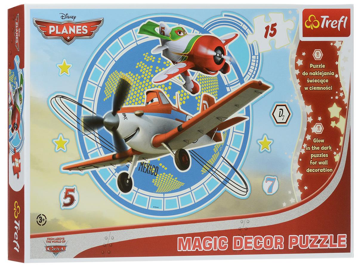 Trefl Пазл Самолеты14603Необыкновенный пазл Trefl Самолеты обязательно понравится юным пилотам и поклонникам одноименного мультфильма, летающих по всему земному шару! Соберите из пятнадцати прочных деталей красочную картинку, отсоедините специальную пленку, наклейте изображение на любую гладкую поверхность, выключите свет и вы увидите, как самолеты светятся в темноте! Необыкновенное украшение для детской комнаты готово. Собирание пазла прекрасно тренирует мелкую моторику, усидчивость и внимательность, что немало важно для подрастающего малыша. В комплект помимо элементов для сборки пазла входит также рамочка с дополнительными элементами для декорирования. Обратите внимание на декорируемую поверхность! Тонкие и непрочные отделочные материалы могут быть повреждены при удалении наклейки. Ваш ребенок будет в восторге от такого подарка!