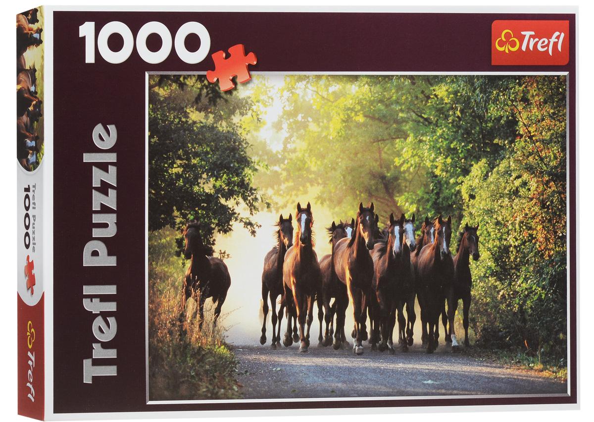 Trefl Пазл Табун лошадей10168NПазл Trefl Табун лошадей, без сомнения, придется вам по душе. Собрав этот пазл, включающий в себя 1000 элементов, вы увидите великолепную картину, наполненную летними красками и ощущением свободы: табун лошадей скачет, поднимая пыль, посреди залитой солнцем дорожки, проходящей в лесу. Как приятно будет любоваться этим зрелищем холодными зимними вечерами! Собирание пазла поможет развить память, моторику рук, логику и усидчивость. Играть в пазл можно всей семьей или с друзьями. Главное начать, и тогда вы не сможете остановиться!