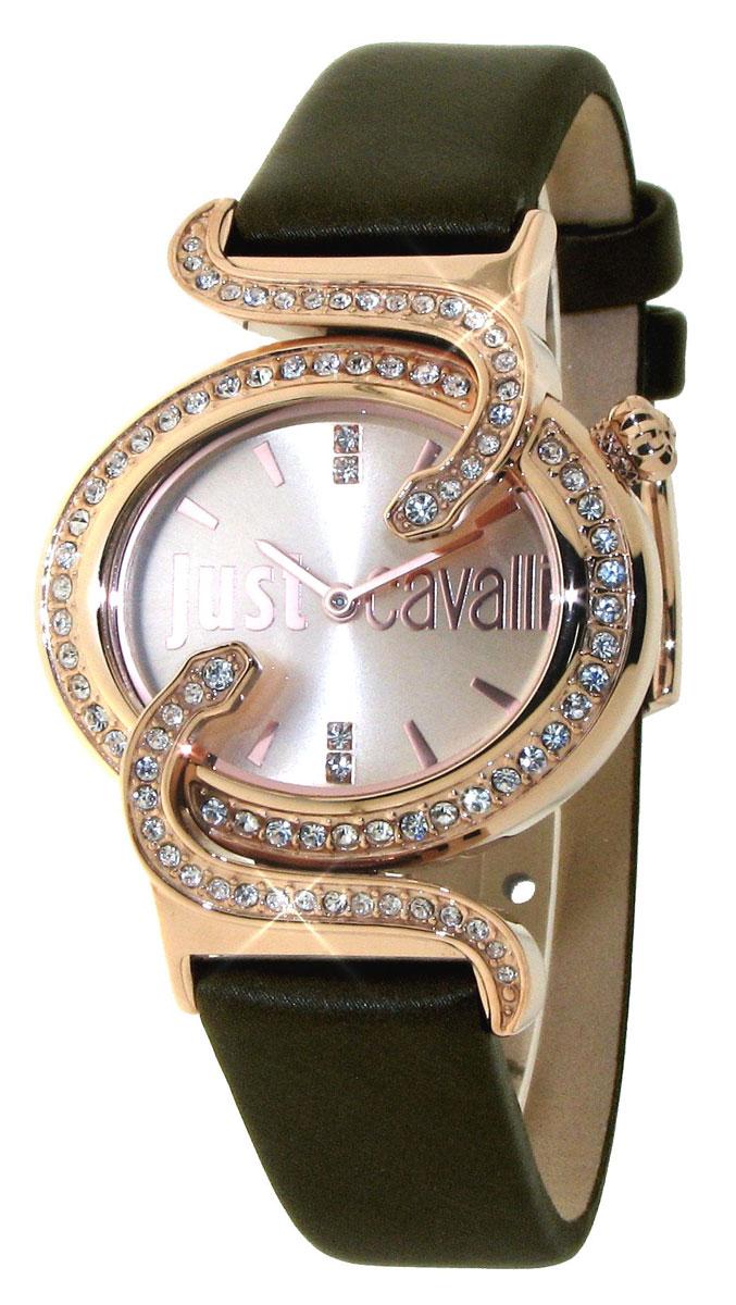 Часы наручные женские Just Cavalli SIN, цвет: черный. R7251591501R7251591501Часы имеют кварцевый механизм. Корпус и циферблат украшены кристаллами. Корпус выполнен из нержавеющей стали с PVD-покрытием золотистого цвета. Ремешок - из натуральной кожи. Циферблат с двумя стрелками (часовой и минутной) оформлен отметками и защищен минеральным стеклом.