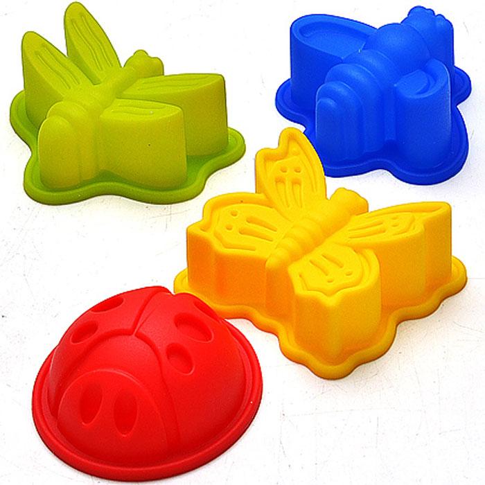 22079 Форма силиконовая 4шт/упак МВ (х72)22079Набор Микс состоит из 4 форм разных цветов, выполненных в виде бабочки, стрекозы, пчелы и божьей коровки. Все предметы данного набора изготовлены из силикона. Силиконовые формы для выпечки имеют много преимуществ по сравнению с традиционными металлическими формами и противнями. Они идеально подходят для использования в микроволновых, газовых и электрических печах при температурах до +230°С. В случае заморозки до -40°С. За счет высокой теплопроводности силикона изделия выпекаются заметно быстрее. Благодаря гибкости и антиприлипающим свойствам силикона, готовое изделие легко извлекается из формы. Для этого достаточно отогнуть края и вывернуть форму (выпечке дайте немного остыть, а замороженный продукт лучше вынимать сразу). Силикон абсолютно безвреден для здоровья, не впитывает запахи, устойчив к фруктовым кислотам, не оставляет пятен, легко моется. Набор для выпечки и заморозки Микс - практичный и необходимый подарок любой хозяйке! Материал: силикон. Ширина формы: 7...