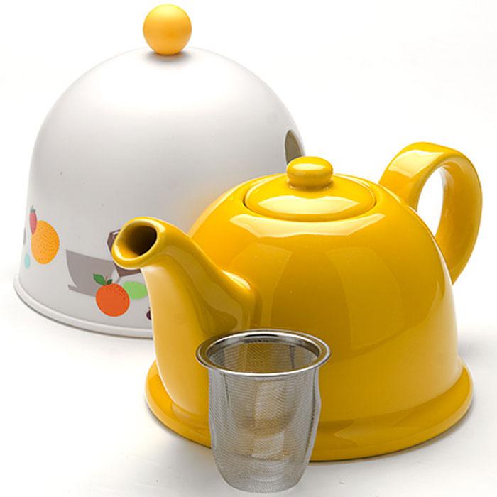 24311 Чайник-завар. 0,8л с термо-колпаком МВ (х16)24311Керамический заварочный чайник с термо-колпаком и ситечком Материал: керамика, металл, пластик. Цвет: желтый+белый Объем: 0,8 л. Диаметр чайника (по верхнему краю): 6 см. Диаметр основания чайника: 13 см. Высота чайника (без учета крышки): 12 см. Высота ситечка: 6 см. Высота колпака: 14 см. Вес:645 г Размер упаковки: 18,5 см х 15,5 см х 15 см. Вес упаковки: 813 г Заварочный чайник Mayer & Boch изготовлен из высококачественной глазурованной керамики желтого цвета. Внутри чайника установлен сетчатый фильтр, который задерживает чаинки и предотвращает их попадание в чашку. Чайник снабжен удобной ручкой. . В комплекте - термо-колпак, выполненный из пластика белого цвета. Внутренняя поверхность колпака отделана теплосберегающей тканью,благодаря которому чай дольше остается горячим. Колпак имеет специальные выемки для носика и ручки. Чай в таком чайнике быстрее заваривается, дольше остается горячим, а полезные и ароматические вещества полностью сохраняются в напитке. Яркий стильный...