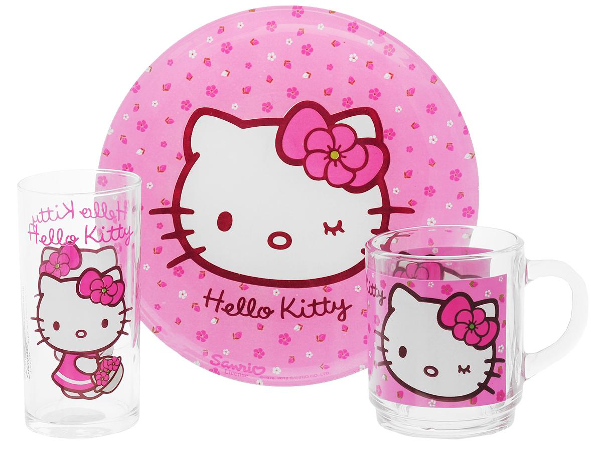 Luminarc Набор детской посуды Hello Kitty Sweet Pink 3 предметаH5483Набор Luminarc Hello Kitty Sweet Pink состоит из кружки, тарелки и стакана, изготовленных из ударопрочного стекла. Предметы набора оформлены изображением кошечки Hello Kitty. Такой набор привлечет внимание вашего ребенка и не позволит ему скучать. Яркий дизайн посуды превратит прием пищи ребенка в увлекательное занятие. Предметы набора можно мыть в посудомоечной машине. Объем кружки: 250 мл. Диаметр кружки по верхнему краю: 7 см. Высота кружки: 9 см. Объем стакана: 270 мл. Диаметр стакана по верхнему краю: 6 см. Высота стакана: 12 см. Диаметр тарелки: 20 см.