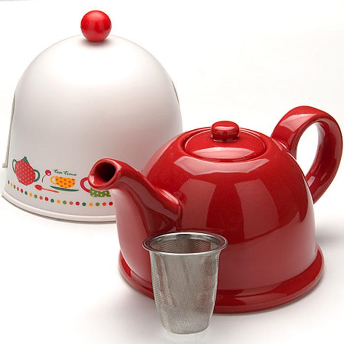 24316 Чайник-завар. 0,8л с термо-колпаком МВ (х16)24316Керамический заварочный чайник с термо-колпаком и ситечком Материал: керамика, металл, пластик. Цвет: красный+белый Объем: 0,8 л. Диаметр чайника (по верхнему краю): 6 см. Диаметр основания чайника: 13 см. Высота чайника (без учета крышки): 12 см. Высота ситечка: 6 см. Высота колпака: 14 см. Вес:645 г Размер упаковки: 18,5 см х 15,5 см х 15 см. Вес упаковки: 813 г Заварочный чайник Mayer & Boch изготовлен из высококачественной глазурованной керамики красного цвета. Внутри чайника установлен сетчатый фильтр, который задерживает чаинки и предотвращает их попадание в чашку. Чайник снабжен удобной ручкой. . В комплекте - термо-колпак, выполненный из пластика белого цвета. Внутренняя поверхность колпака отделана теплосберегающей тканью,благодаря которому чай дольше остается горячим. Колпак имеет специальные выемки для носика и ручки. Чай в таком чайнике быстрее заваривается, дольше остается горячим, а полезные и ароматические вещества полностью сохраняются в напитке. Яркий стильный...