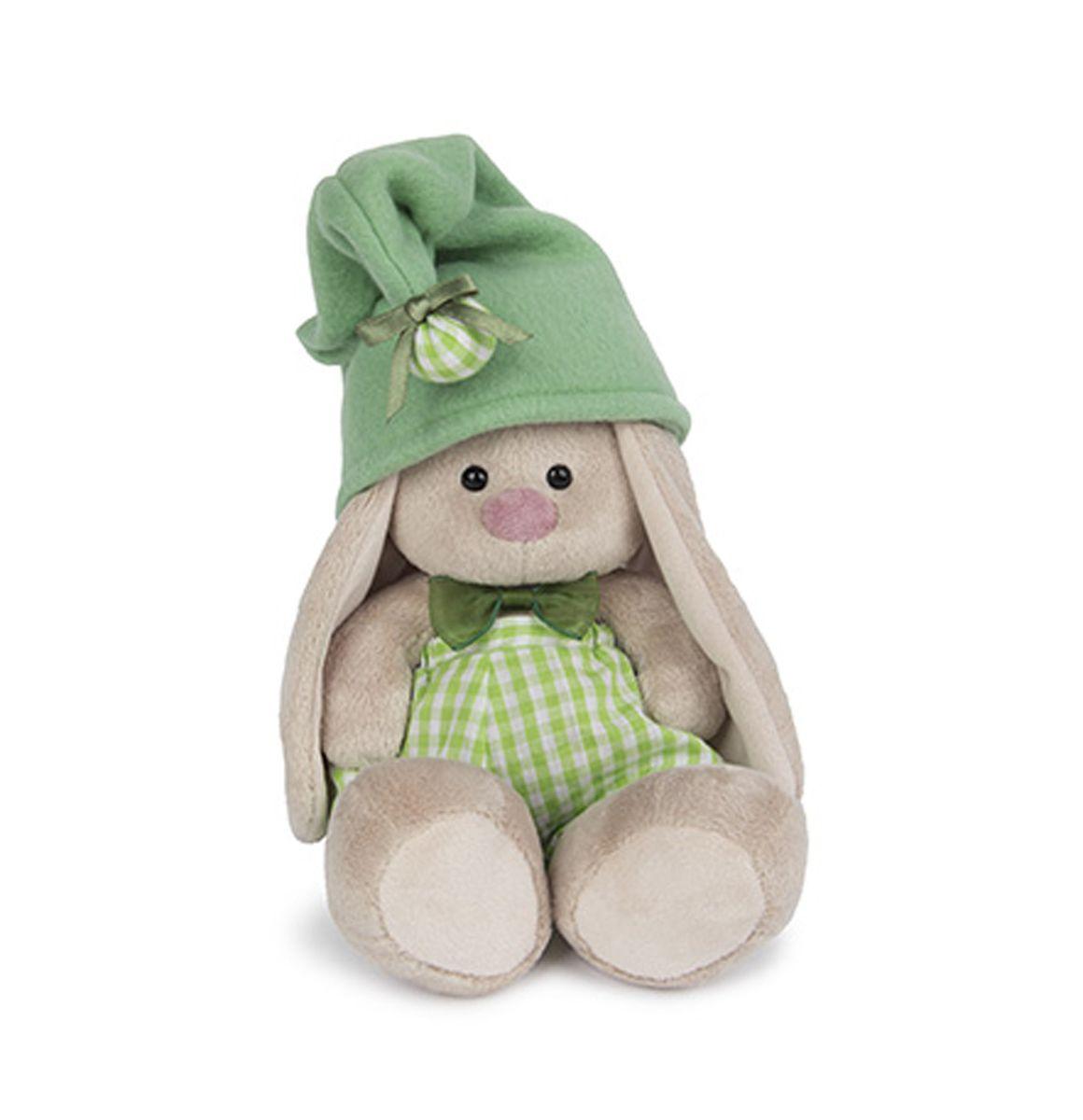Мягкая игрушка Зайка Ми Гномик в зеленом 15 смSidX-116Зайка в зеленых х/б панталончиках в клетку и мягком, зеленом колпачке из флиса с помпоном. Также на Зайке зеленый бантик из органзы.
