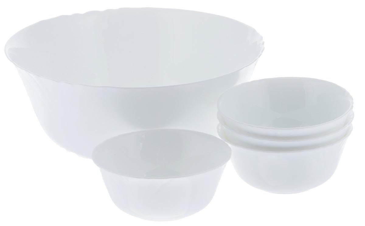 Набор салатников Luminarc Cadix, 5 предметовJ3191Набор Luminarc Lotusia включает в себя 4 мелких салатника и 1 большой. Изделия выполнены из высококачественного стекла. Салатники отлично подойдут для сервировки стола. Оригинальность дизайна набора придется по вкусу и ценителям классики, и тем, кто предпочитает утонченность и изысканность. Диаметр большого салатника (по верхнему краю): 24 см. Диаметр дна большого салатника: 12 см. Высота большого салатника: 10,2 см. Диаметр мелких салатников (по верхнему краю): 12 см. Диаметр дна маленьких салатников: 5,5 см. Высота маленьких салатников: 5,5 см.