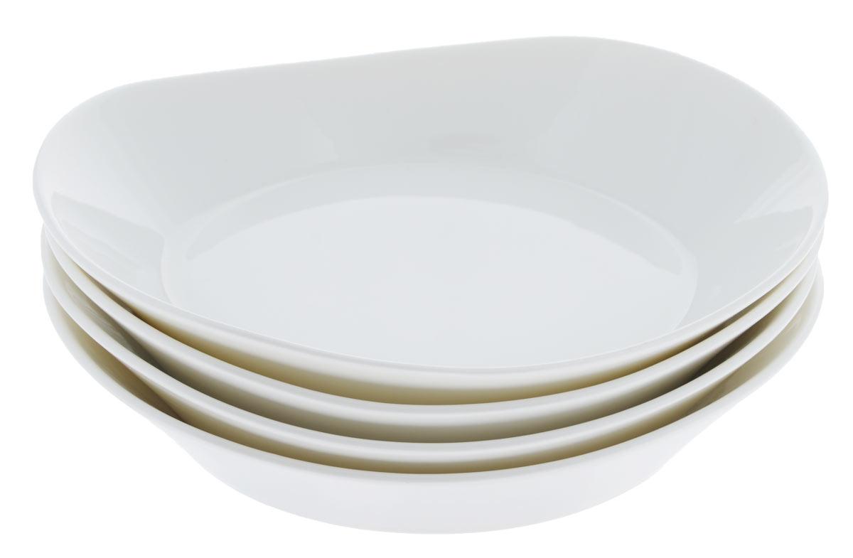 Тарелка сервировочная BergHOFF Eclipse, цвет: белый, 20 х 18,5 см, 4 шт3700430Сервировочная тарелка BergHOFF Eclipse с высоким бортиком выполнена из высококачественного фарфора однотонного цвета и прекрасно подойдет для вашей кухни. Такая тарелка изысканно украсит сервировку как обеденного, так и праздничного стола. Предназначена для подачи вторых блюд. Пригодна для использования в микроволновой печи. Можно мыть в посудомоечной машине. Диаметр: 20 см х 18,5 см. Высота тарелки: от 3 см до 4 см.