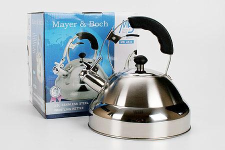 Чайник 3л Mayer&Boch4533Чайник 3 л. материал: высококачественная нержавеющая сталь (CrNi 18/10),силиконовая ручка, крышка метал., литое дно