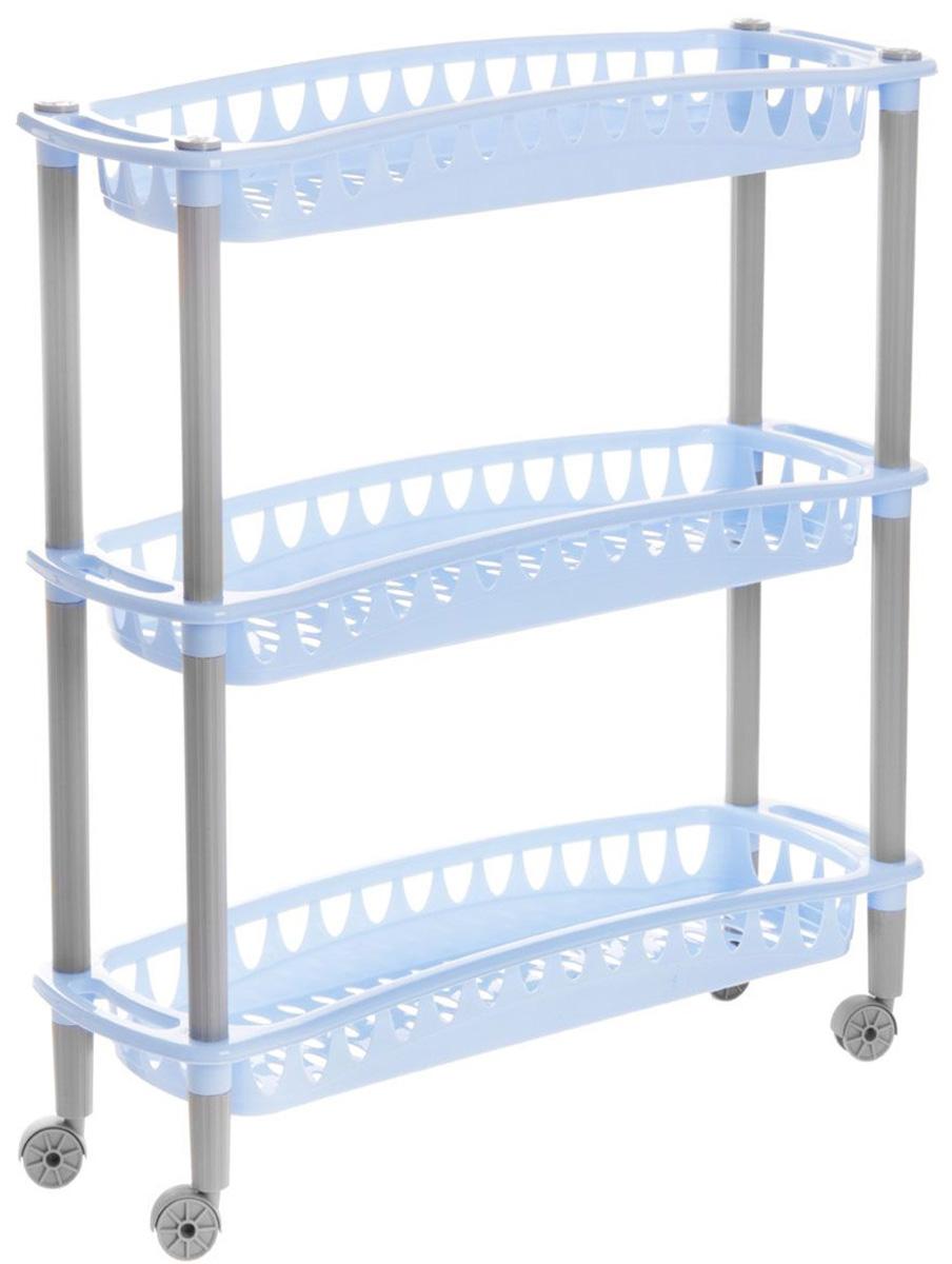 Этажерка Бытпласт Джулия, 3-х ярусная, на колесиках, цвет: голубой, 59 см х 18 см х 61 см157790Узкая этажерка Бытпласт Джулия выполнена из высококачественного пластика. Содержит 3 корзины с перфорированным дном и стенками. Этажерка подходит для хранения различных фруктов и овощей на кухне или различных принадлежностей в ванной комнате. Благодаря колесикам ее можно перемещать в любую сторону без особых усилий. Очень удобная и компактная, но в тоже время вместительная, такая этажерка прекрасно впишется в интерьер любой кухни или ванной комнаты. Она поможет легко организовать пространство. Легко собирается и разбирается. Размер этажерки (ДхШхВ): 59 см х 18 см х 61 см. Размер яруса (ДхШхВ): 59 см х 18 см х 6,5 см.