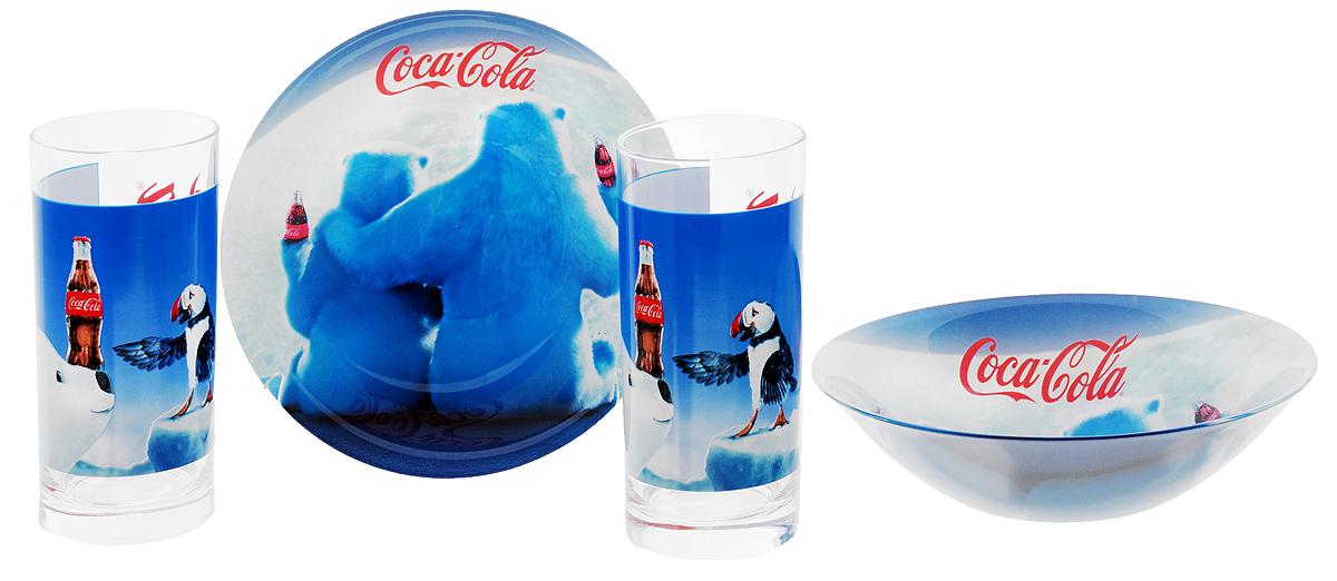 Luminarc Набор детской посуды Coca-Cola Polar Bear 4 предметаJ3990Набор Luminarc Coca-Cola Polar Bear состоит из 2 стаканов и 2 глубоких тарелок, изготовленных из ударопрочного стекла. Предметы набора оформлены изображением белых медведей с бутылками Coca-Cola. Такой набор привлечет внимание вашего ребенка и не позволит ему скучать. Яркий дизайн посуды превратит прием пищи ребенка в увлекательное занятие. Объем стакана: 270 мл. Диаметр стакана по верхнему краю: 6 см. Высота стакана: 13,5 см. Диаметр тарелки: 16,3 см. Высота тарелки: 4,5 см.
