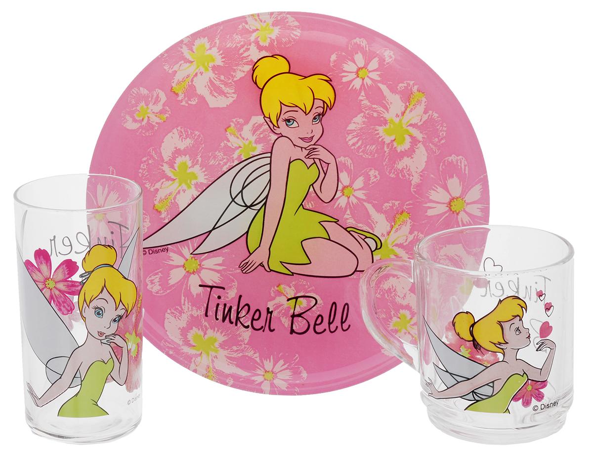Luminarc Набор детской посуды Tinker Bell Color 3 предметаH5305Набор Luminarc Tinker Bell Color состоит из кружки, тарелки и стакана, изготовленных из ударопрочного стекла. Предметы набора оформлены изображением феи Динь-Динь. Такой набор привлечет внимание вашего ребенка и не позволит ему скучать. Яркий дизайн посуды превратит прием пищи ребенка в увлекательное занятие. Предметы набора можно мыть в посудомоечной машине и использовать в микроволновой печи. Объем кружки: 250 мл. Диаметр кружки по верхнему краю: 7 см. Высота кружки: 9 см. Объем стакана: 270 мл. Диаметр стакана по верхнему краю: 6 см. Высота стакана: 12 см. Диаметр тарелки: 20,5 см.