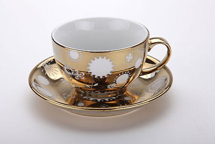 3806 Чашка с блюдцем 350мл LR зол/рис (х12)38062 предмета чашка+блюдце материал:керамика Размер:чашка-D11х7см блюдце-D17см Объем:365мл Размер упаковки:17.5х17.5х8.5см