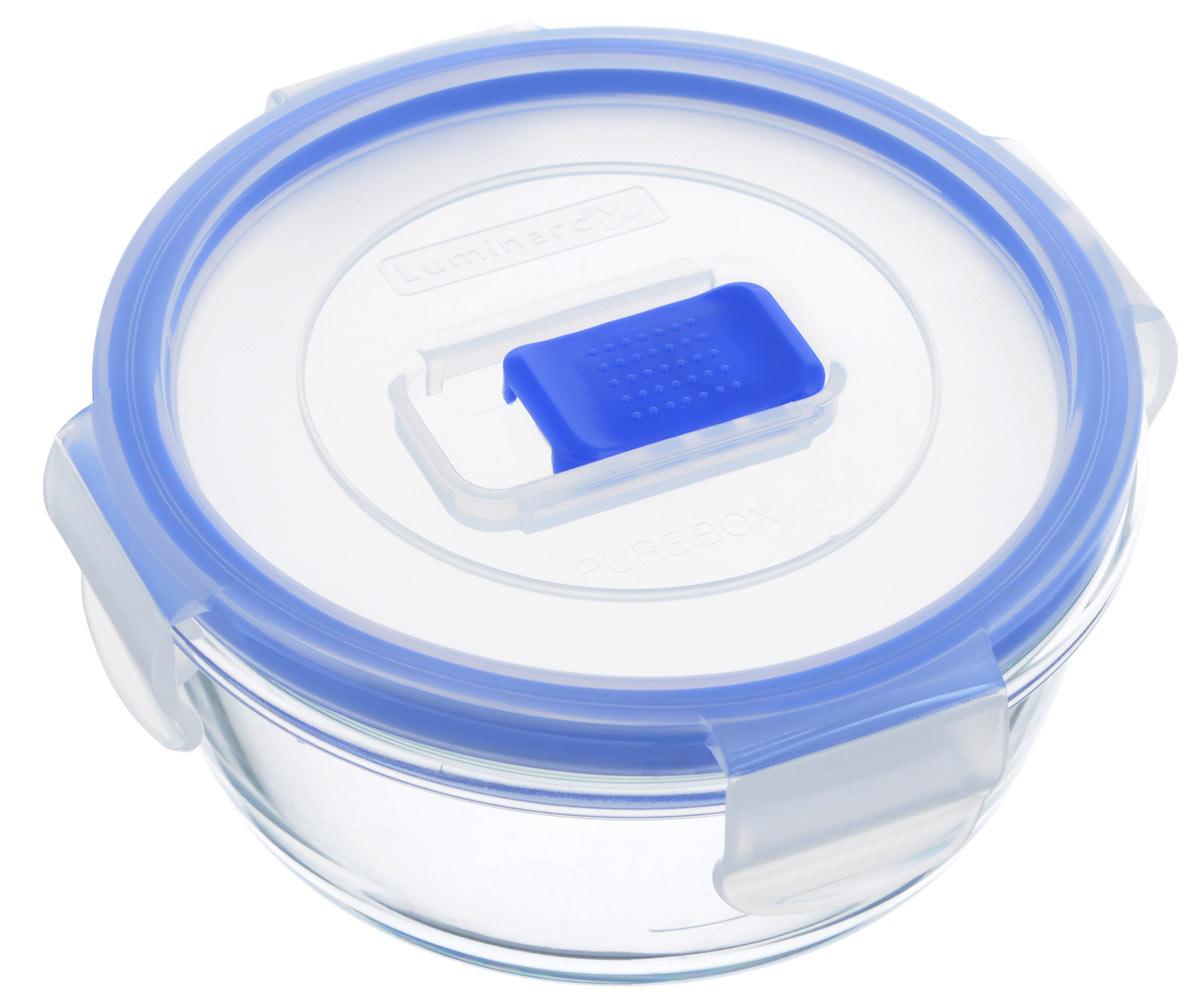 Контейнер Luminarc Pure Box Active, цвет: прозрачный, синий, 420 млJ5636Круглый контейнер Luminarc Pure Box Active изготовлен из жаропрочного закаленного стекла и предназначен для хранения любых пищевых продуктов. Благодаря особым технологиям изготовления, лотки в течении времени службы не меняют цвет и не пропитываются запахами. Пластиковая крышка с силиконовой вставкой герметично защелкивается специальным механизмом. Контейнер Luminarc Pure Box Active удобен для ежедневного использования в быту. Можно мыть в посудомоечной машине и использовать в СВЧ. Размер контейнера (с учетом крышки): 12,5 см х 12,5 см х 6 см.