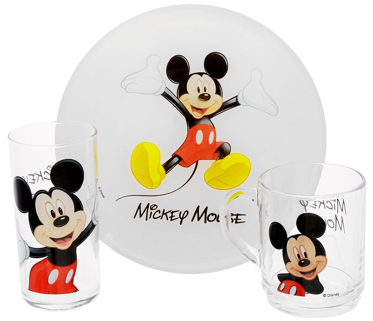 Luminarc Набор детской посуды Mickey Colors 3 предметаH5320Набор Luminarc Mickey Colors состоит из кружки, тарелки и стакана, изготовленных из ударопрочного стекла. Предметы набора оформлены изображением Микки Мауса. Такой набор привлечет внимание вашего ребенка и не позволит ему скучать. Яркий дизайн посуды превратит прием пищи ребенка в увлекательное занятие. Предметы набора можно мыть в посудомоечной машине и использовать в микроволновой печи. Объем кружки: 250 мл. Диаметр кружки по верхнему краю: 7 см. Высота кружки: 9 см. Объем стакана: 270 мл. Диаметр стакана по верхнему краю: 6 см. Высота стакана: 12 см. Диаметр тарелки: 20 см.