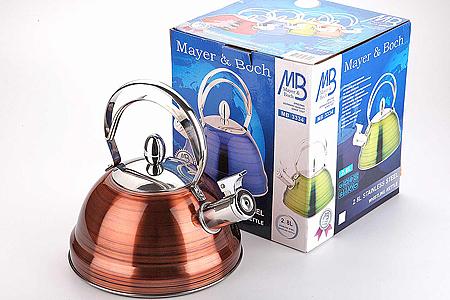 3334 Чайник мет MB(2,8л) цв мет/ст/руч св.(х12)3334Чайник металлический со свистком (2,8 л) Материал: нержавеющая сталь, бакелит, индукционное дно, термостойкое покрытие Цвет: бордо Размер коробки: 24х21,5х22 см Объем: 2,8 л Вес: Корпус чайника выполнен из высококачественной нержавеющей стали, что обеспечивает долговечность использования. Корпус с зеркальной поверхностью цвета бордо. Фиксированная ручка делает использование чайника очень удобным и безопасным. Носик снабжен свистком, что позволит вам контролировать процесс подогрева или кипячения воды. Капсулированное дно с прослойкой из алюминия обеспечивает наилучшее распределение тепла. Эстетичный и функциональный, с эксклюзивным дизайном, чайник будет оригинально смотреться в любом интерьере. Также изделие можно мыть в посудомоечной машине.