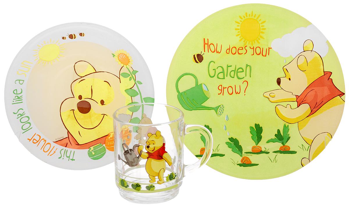 Luminarc Набор детской посуды Winnie Garden 3 предметаH6435Набор Luminarc Winnie Garden состоит из кружки, тарелки и салатника, изготовленных из ударопрочного стекла. Предметы набора оформлены изображением Винни-Пуха. Такой набор привлечет внимание вашего ребенка и не позволит ему скучать. Яркий дизайн посуды превратит прием пищи ребенка в увлекательное занятие. Предметы набора можно мыть в посудомоечной машине и использовать в микроволновой печи. Объем кружки: 250 мл. Диаметр кружки по верхнему краю: 7 см. Высота кружки: 9 см. Диаметр тарелки: 19,5 см. Диаметр салатника: 16,5 см. Высота салатника: 4,5 см.
