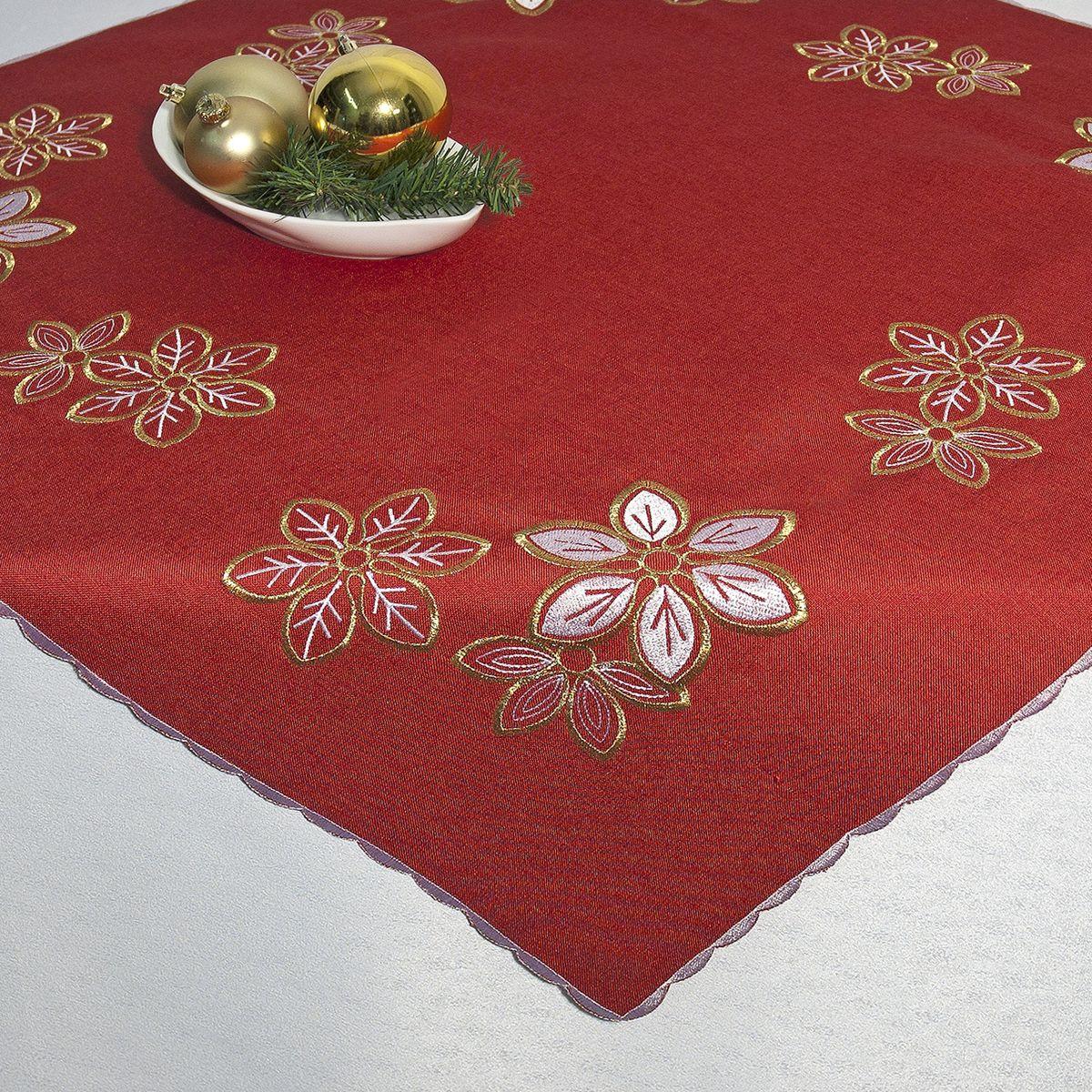 Скатерть Schaefer, квадратная, цвет: красный, золотистый, 85 см х 85 см. 07475-10007475-100Квадратная скатерть Schaefer, выполненная из полиэстера, станет изысканным украшением стола. Изделие декорировано красивой вышивкой в виде цветов. За текстилем из полиэстера очень легко ухаживать: он не мнется, не садится и быстро сохнет, легко стирается, более долговечен, чем текстиль из натуральных волокон. Использование такой скатерти сделает застолье торжественным, поднимет настроение гостей и приятно удивит их вашим изысканным вкусом. Также вы можете использовать эту скатерть для повседневной трапезы, превратив каждый прием пищи в волшебный праздник и веселье. Это текстильное изделие станет изысканным украшением вашего дома!